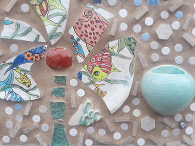 Grouted ceramic pieces.